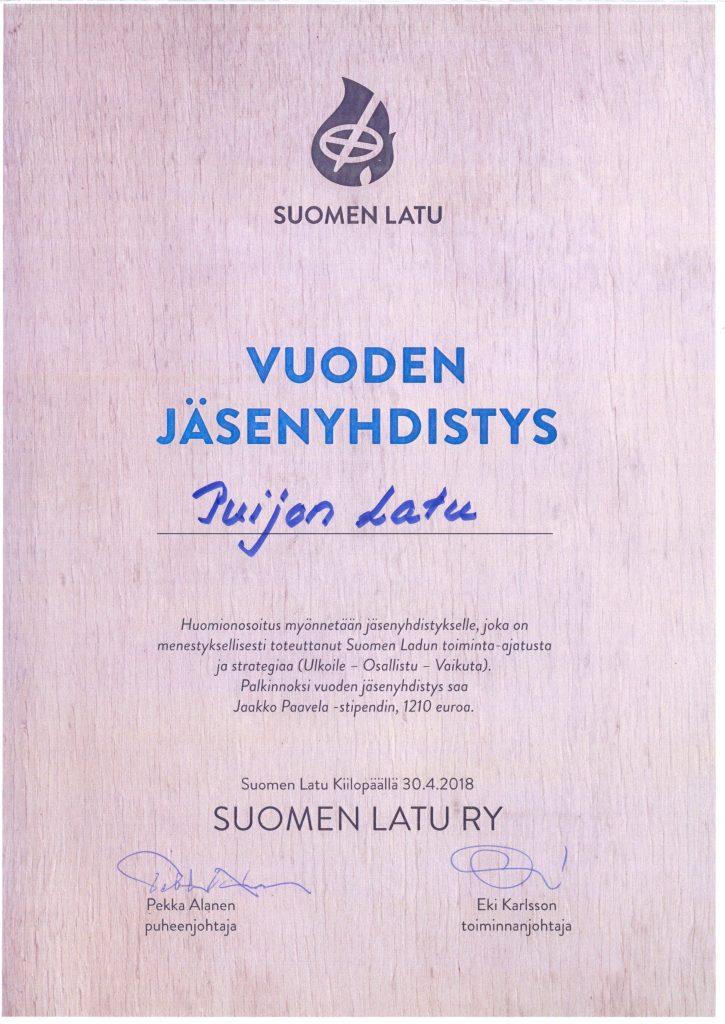 Vuoden 2018 Jäsenyhdistys - kunniakirja