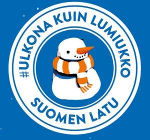 Ulkona kuin lumiukko - logo